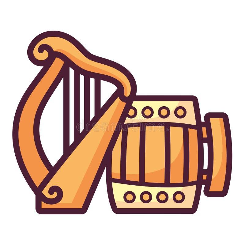 Ξύλινο βάζο μπύρας με την άρπα ελεύθερη απεικόνιση δικαιώματος