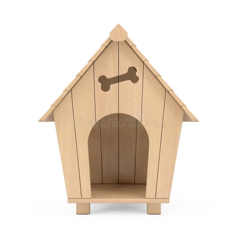 Ξύλινο σπίτι σκυλιών κινούμενων σχεδίων τρισδιάστατη απόδοση διανυσματική απεικόνιση