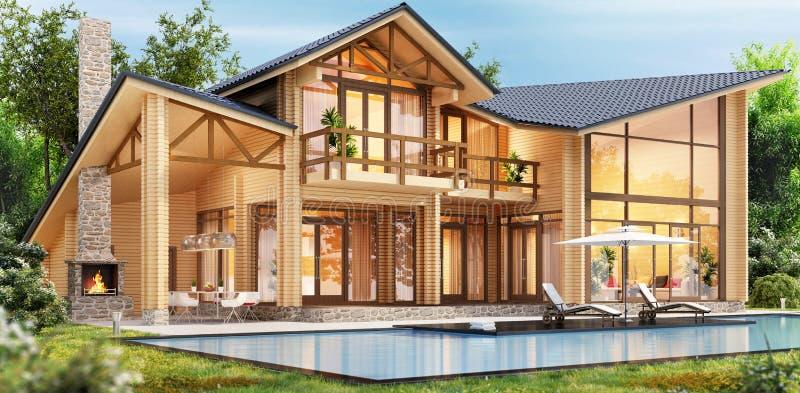Ξύλινο σπίτι πολυτέλειας με την πισίνα ελεύθερη απεικόνιση δικαιώματος