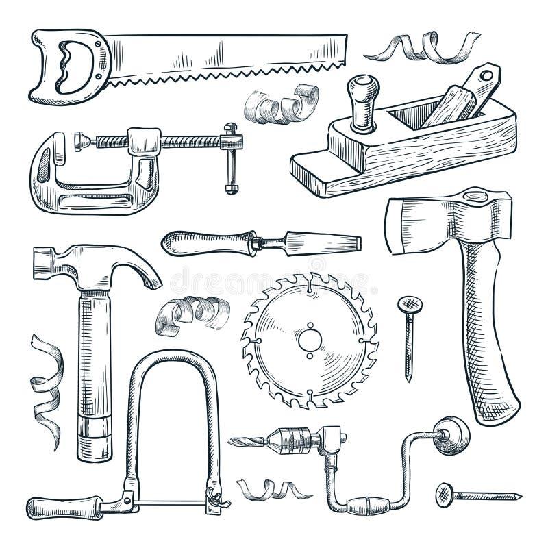 Ξυλουργική και σύνολο εργαλείων ξυλουργικής Διανυσματική απεικόνιση σκίτσων Ξύλινα στοιχεία σχεδίου βιομηχανίας υλικού και επίπλω απεικόνιση αποθεμάτων