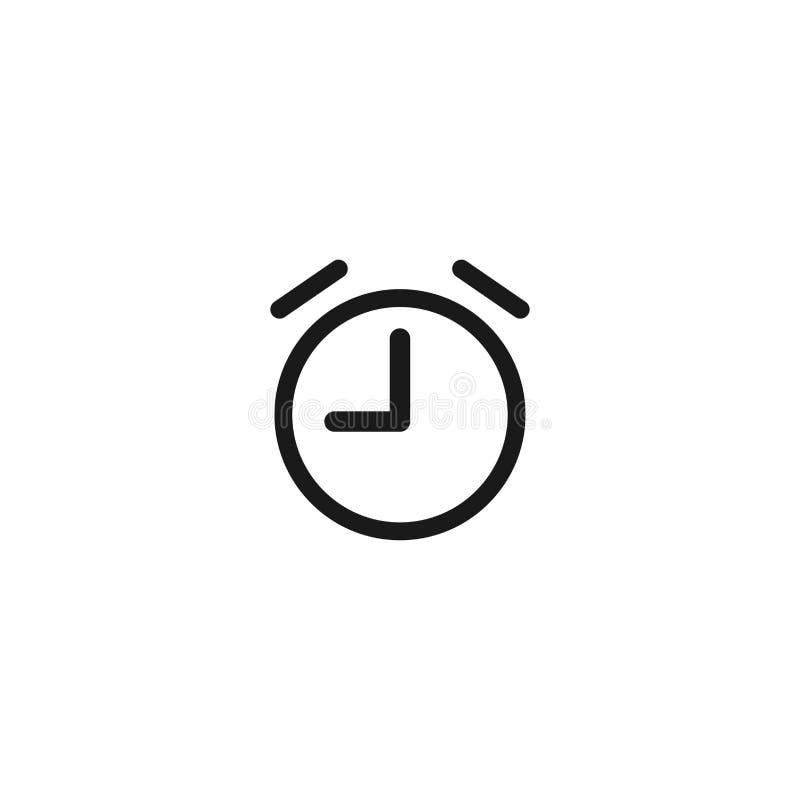Ξυπνητήρι, ξυπνήστε χρονικό εικονίδιο Μαύρο ρολόι με το τέταρτο Επίπεδο εικονίδιο ελεύθερη απεικόνιση δικαιώματος