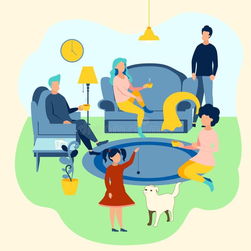 οικογενειακή ατμόσφαιρα Εγχώριες επιπλώσεις, οικογένεια που συγκεντρώνεται Στο μινιμαλιστικό ύφος Επίπεδο διάνυσμα κινούμενων σχε διανυσματική απεικόνιση