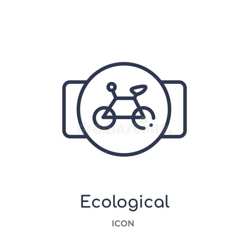οικολογικό εικονίδιο μεταφορών ποδηλάτων από τη συλλογή περιλήψεων μεταφορών Λεπτό εικονίδιο μεταφορών ποδηλάτων γραμμών οικολογι διανυσματική απεικόνιση