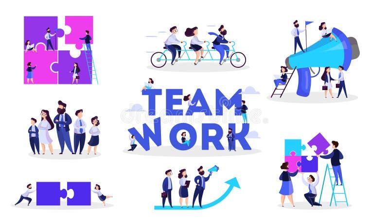 Οι άνθρωποι εργάζονται μαζί στην ομάδα Στρατηγική και επιχείρηση απεικόνιση αποθεμάτων