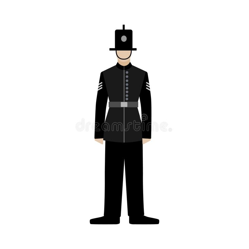 οι βρετανικοί ανώτεροι υπάλληλοι αστυνομεύουν βρετανικός αστυνομικός μαύρη ομοιόμορφη απεικόνιση ελεύθερη απεικόνιση δικαιώματος