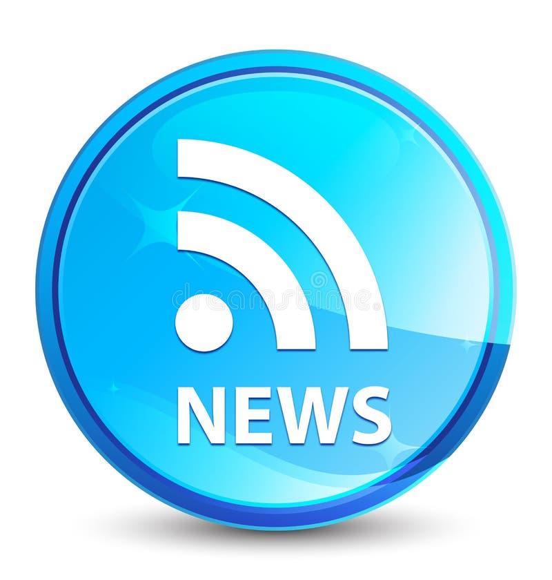 Οι ειδήσεις (εικονίδιο RSS) καταβρέχουν το φυσικό μπλε στρογγυλό κουμπί ελεύθερη απεικόνιση δικαιώματος