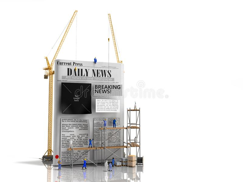 Οι ειδήσεις που στηρίζονται τις στήλες εφημερίδων ραβδιών οικοδόμων έννοιας σε ένα κενό φύλλο εφημερίδων τρισδιάστατο δίνουν ελεύθερη απεικόνιση δικαιώματος