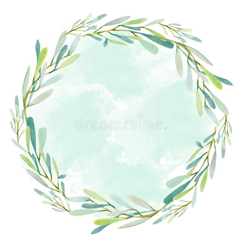 Οι ελιές Watercolor διακλαδίζονται στεφάνι και πράσινο υπόβαθρο σημείων ελεύθερη απεικόνιση δικαιώματος