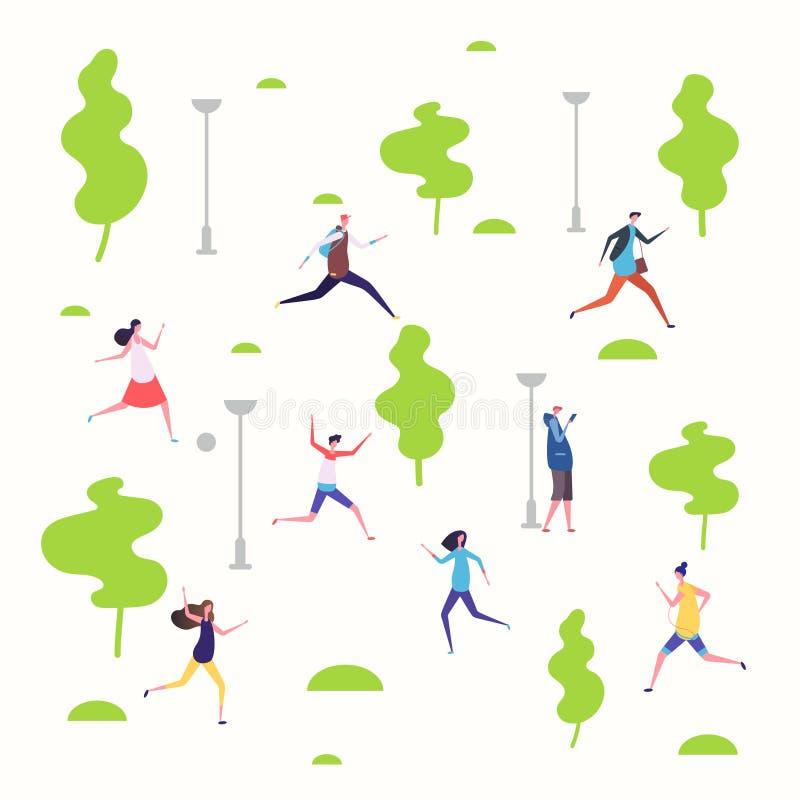 Οι ενεργοί άνθρωποι σταθμεύουν την άνοιξη, περπατώντας και τρέχοντας διανυσματική απεικόνιση ανθρώπων διανυσματική απεικόνιση