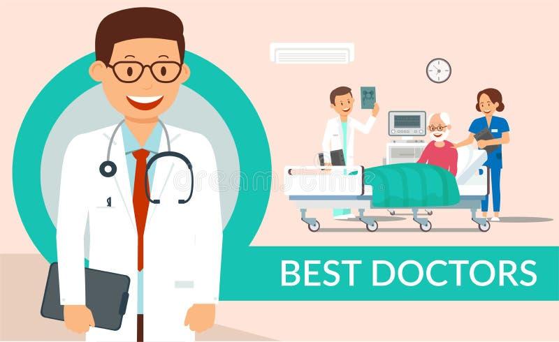 Οι καλύτεροι γιατροί βοηθούν το επίπεδο διανυσματικό πρότυπο αφισών ελεύθερη απεικόνιση δικαιώματος