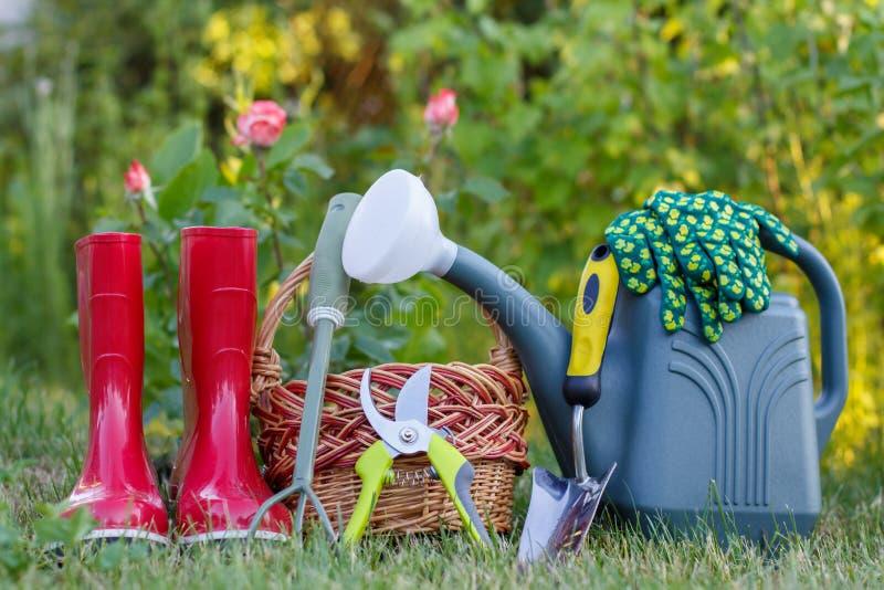Οι κόκκινες λαστιχένιες μπότες κήπων, η μικρή τσουγκράνα, pruner, το ψάθινο καλάθι, trowel και το πλαστικό πότισμα μπορούν σε πρά στοκ φωτογραφία με δικαίωμα ελεύθερης χρήσης