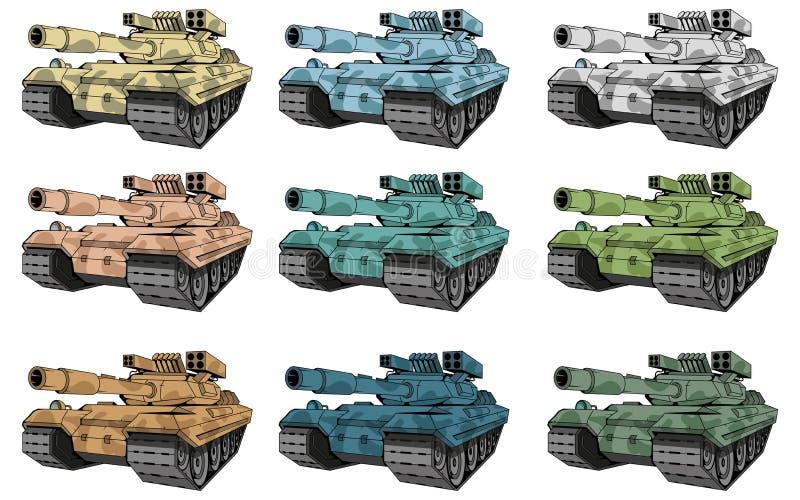 Οι δεξαμενές μάχης καθορισμένες, οι διαφορετικοί τύποι δεξαμενών κάλυψης, δεξαμενή μάχης χρωμάτισαν το σχέδιο ελεύθερη απεικόνιση δικαιώματος