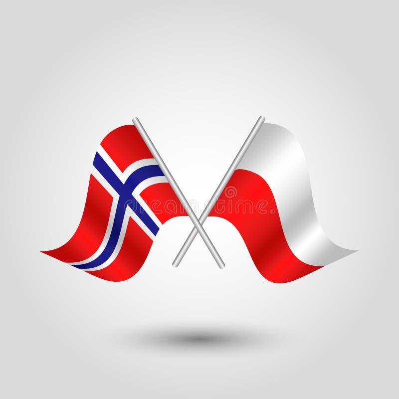 Οι διασχισμένες σημαίες των νορβηγικών και στιλβωτικής ουσίας στο ασήμι κολλούν - βασίλειο συμβόλων της Νορβηγίας και της δημοκρα ελεύθερη απεικόνιση δικαιώματος