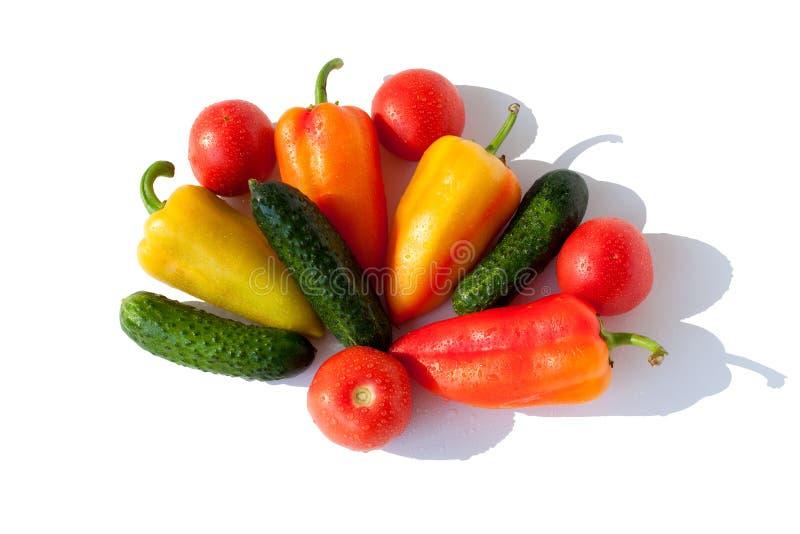 Ολόκληρα αγγούρια λαχανικών, πιπέρια κουδουνιών και κόκκινο πράσινο κίτρινο πορτοκάλι ντοματών στις πτώσεις νερού στην άσπρη απομ στοκ εικόνες