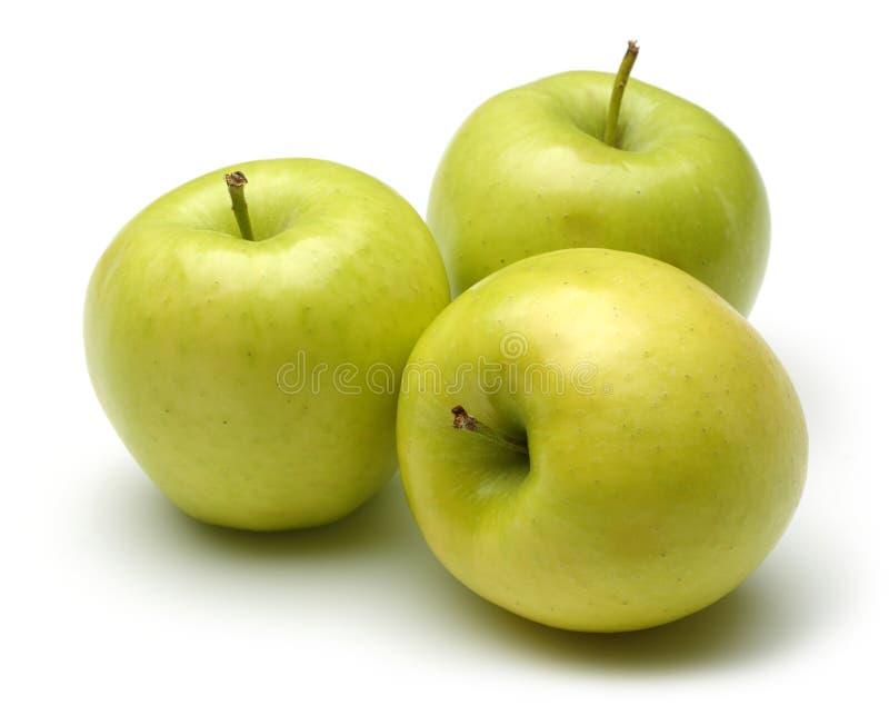 Ολόκληρα χρυσά μήλα που απομονώνονται στο λευκό στοκ φωτογραφία με δικαίωμα ελεύθερης χρήσης