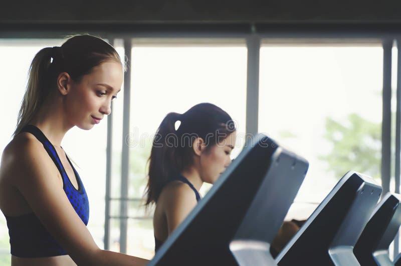 Ομάδα πλάγιας όψης ελκυστικών αθλητριών γυναικών στο τρέξιμο της διαδρομής στοκ εικόνες με δικαίωμα ελεύθερης χρήσης