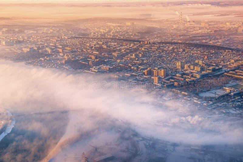 Ομίχλη πρωινού στο Ιρκούτσκ, Ρωσία στοκ εικόνες με δικαίωμα ελεύθερης χρήσης