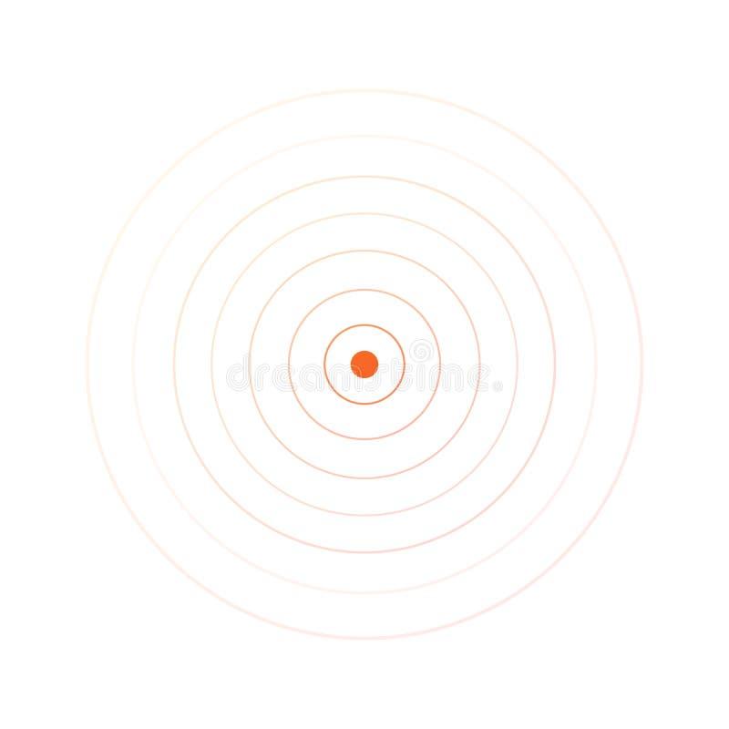Ομόκεντρα στοιχεία κύκλων Διανυσματική απεικόνιση για το υγιές κύμα Πορτοκαλί δαχτυλίδι χρώματος Στόχος περιστροφής κύκλων Σήμα ρ απεικόνιση αποθεμάτων