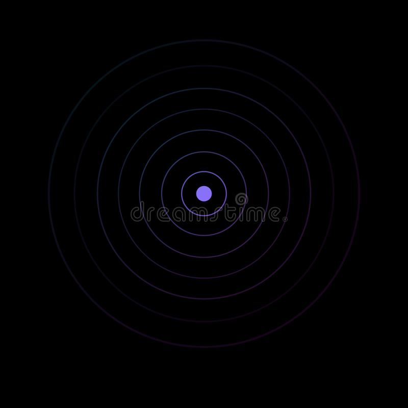 Ομόκεντρα στοιχεία κύκλων Διανυσματική απεικόνιση για το υγιές κύμα Πορφυρό δαχτυλίδι χρώματος Στόχος περιστροφής κύκλων Σήμα ραδ ελεύθερη απεικόνιση δικαιώματος