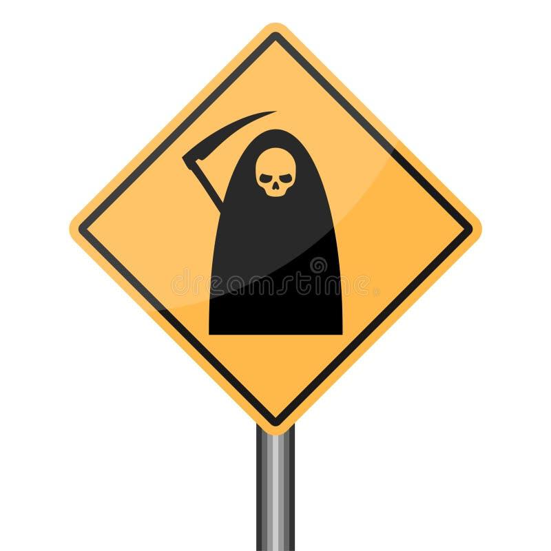 Οδικό σημάδι προειδοποίησης θεριστών, σημάδι κινδύνου θανάτου ελεύθερη απεικόνιση δικαιώματος