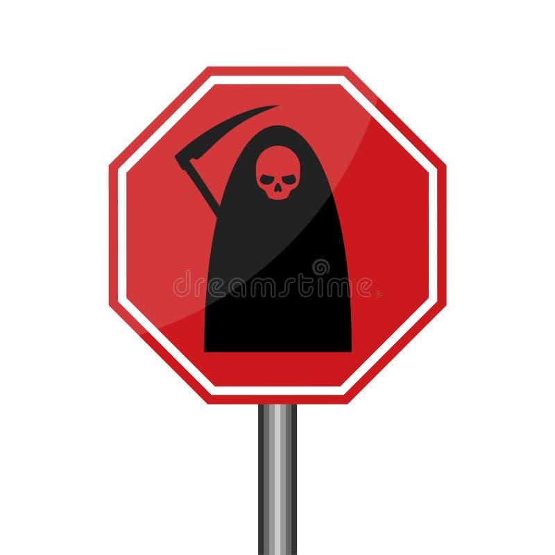 Οδικό σημάδι προειδοποίησης θεριστών, σημάδι κινδύνου θανάτου διανυσματική απεικόνιση
