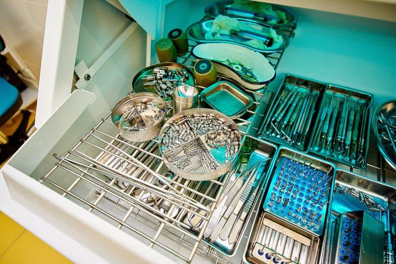 Οδοντικός εξοπλισμός, οδοντιατρική, ιατρικές συσκευές για την επεξεργασία και την αποκατάσταση των δοντιών στοκ εικόνες
