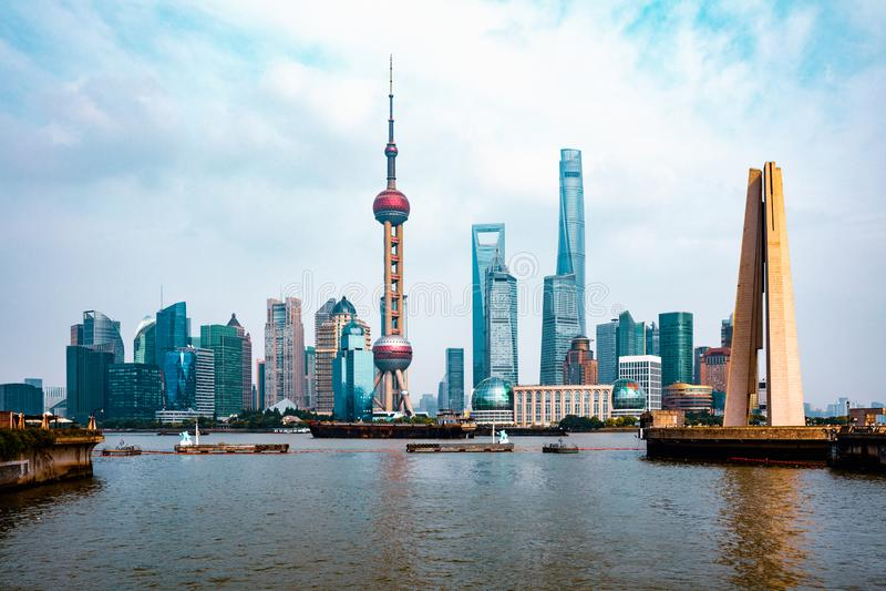 Ορίζοντας πόλεων της Σαγκάη στοκ φωτογραφίες με δικαίωμα ελεύθερης χρήσης
