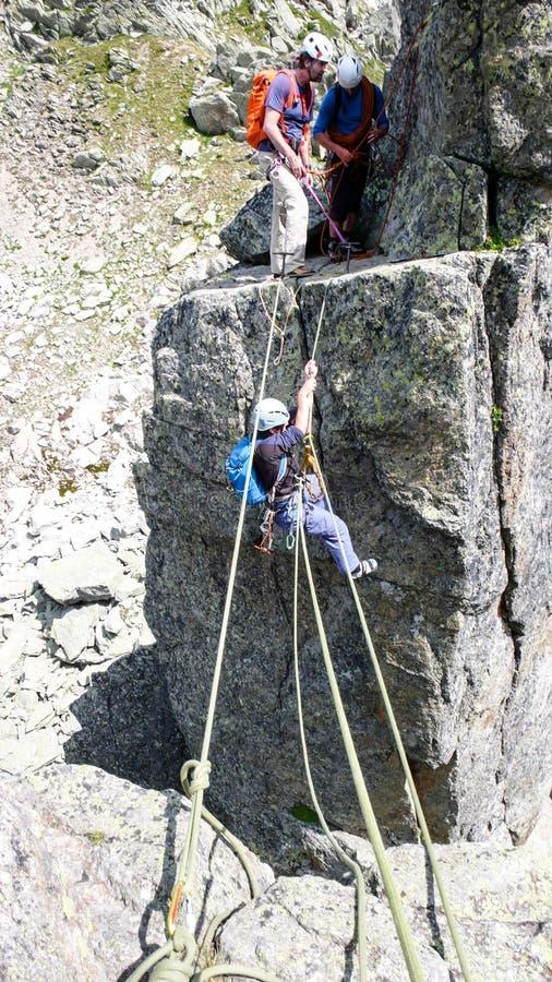 Ορειβάτες βράχου σε Chamonix στοκ εικόνες