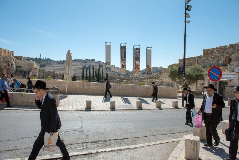 Ορθόδοξοι Εβραίοι Haredi εξαιρετικά, Ιερουσαλήμ στοκ εικόνες