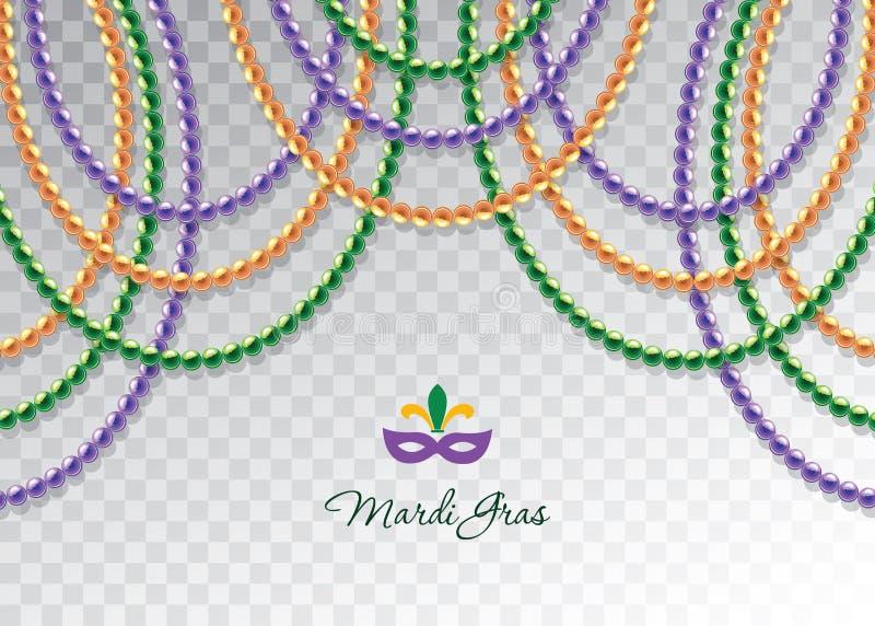 Οριζόντιο διακοσμητικό πρότυπο γιρλαντών χαντρών της Mardi Gras Παχιά Τρίτη καρναβάλι διάνυσμα απεικόνιση αποθεμάτων