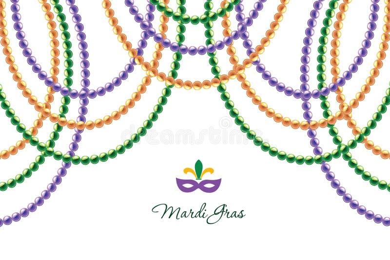 Οριζόντιο διακοσμητικό πρότυπο γιρλαντών χαντρών της Mardi Gras που απομονώνεται στο λευκό Παχιά Τρίτη καρναβάλι διάνυσμα ελεύθερη απεικόνιση δικαιώματος