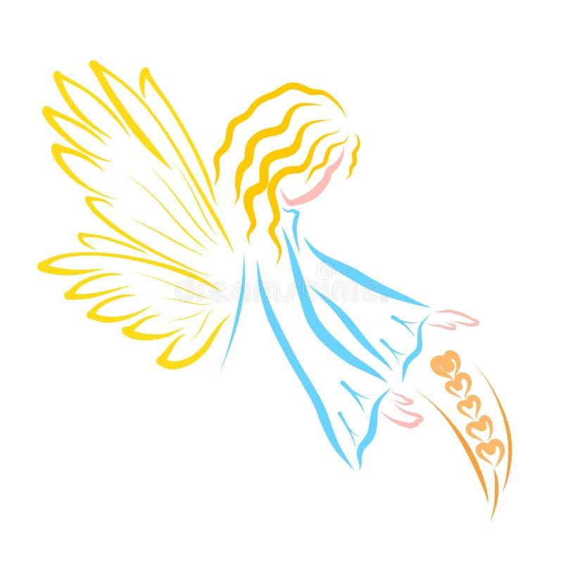 Ο άγγελος προστατεύει το ώριμο αυτί του σίτου, της φύσης και της πίστης διανυσματική απεικόνιση