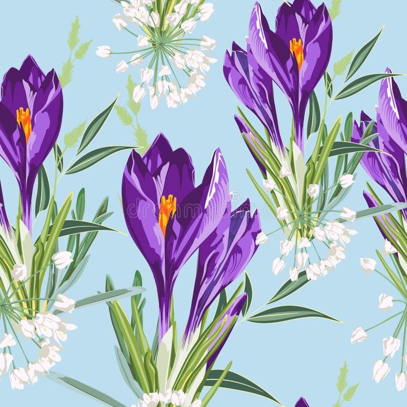 Ο άνευ ραφής floral ιώδης κρόκος ανθίζει το σχέδιο σε ένα μπλε υπόβαθρο Λουλούδια και χορτάρι άνοιξη ελεύθερη απεικόνιση δικαιώματος