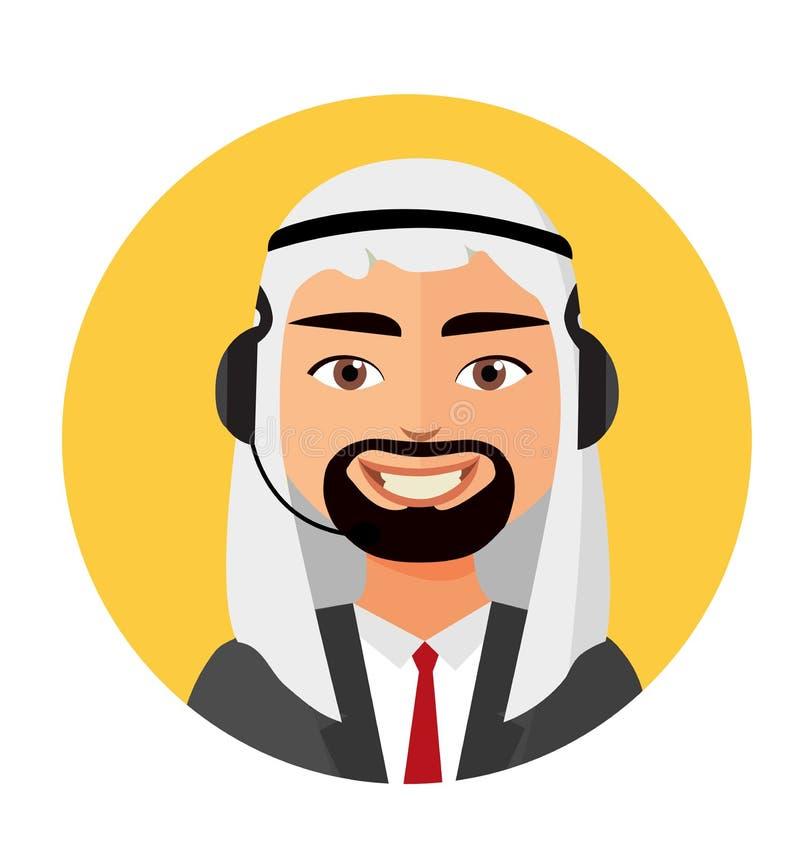 Ο αραβικός χειριστής ατόμων τηλεφωνικών κέντρων με τις υπηρεσίες πελατών εικονιδίων κασκών τηλεφωνά στη βοήθεια στη διανυσματική  ελεύθερη απεικόνιση δικαιώματος