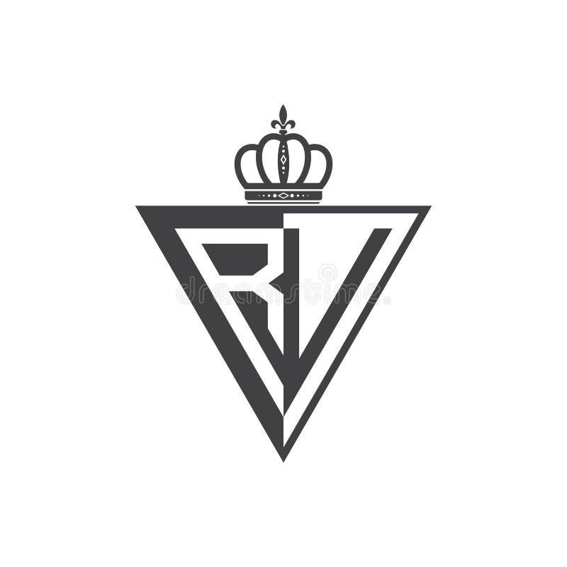 Ο αρχικός Μαύρος τριγώνων λογότυπων δύο γραμμάτων rv μισός ελεύθερη απεικόνιση δικαιώματος