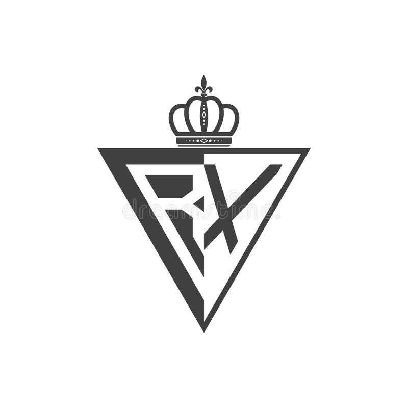 Ο αρχικός Μαύρος τριγώνων λογότυπων δύο γραμμάτων RX μισός διανυσματική απεικόνιση