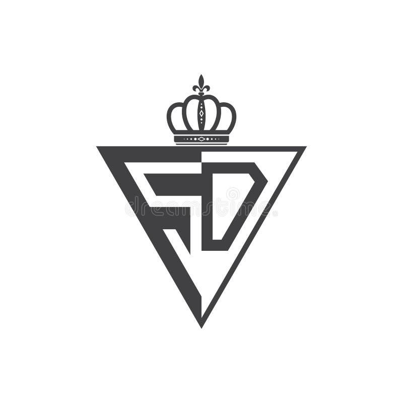 Ο αρχικός Μαύρος τριγώνων λογότυπων δύο γραμμάτων SD μισός ελεύθερη απεικόνιση δικαιώματος