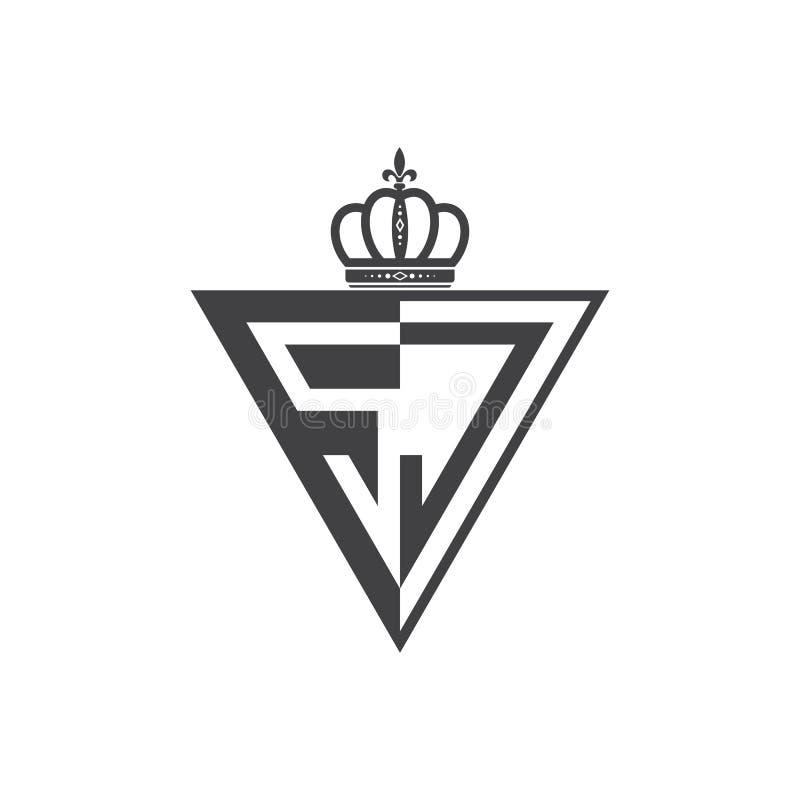 Ο αρχικός Μαύρος τριγώνων λογότυπων δύο γραμμάτων SJ μισός ελεύθερη απεικόνιση δικαιώματος
