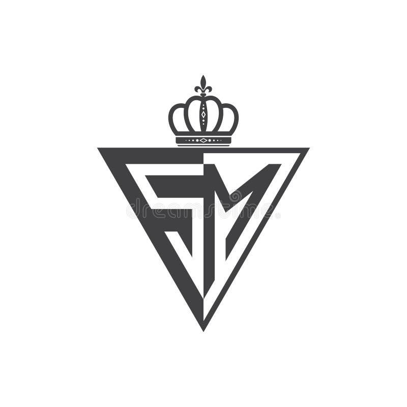 Ο αρχικός Μαύρος τριγώνων λογότυπων δύο γραμμάτων SM μισός διανυσματική απεικόνιση