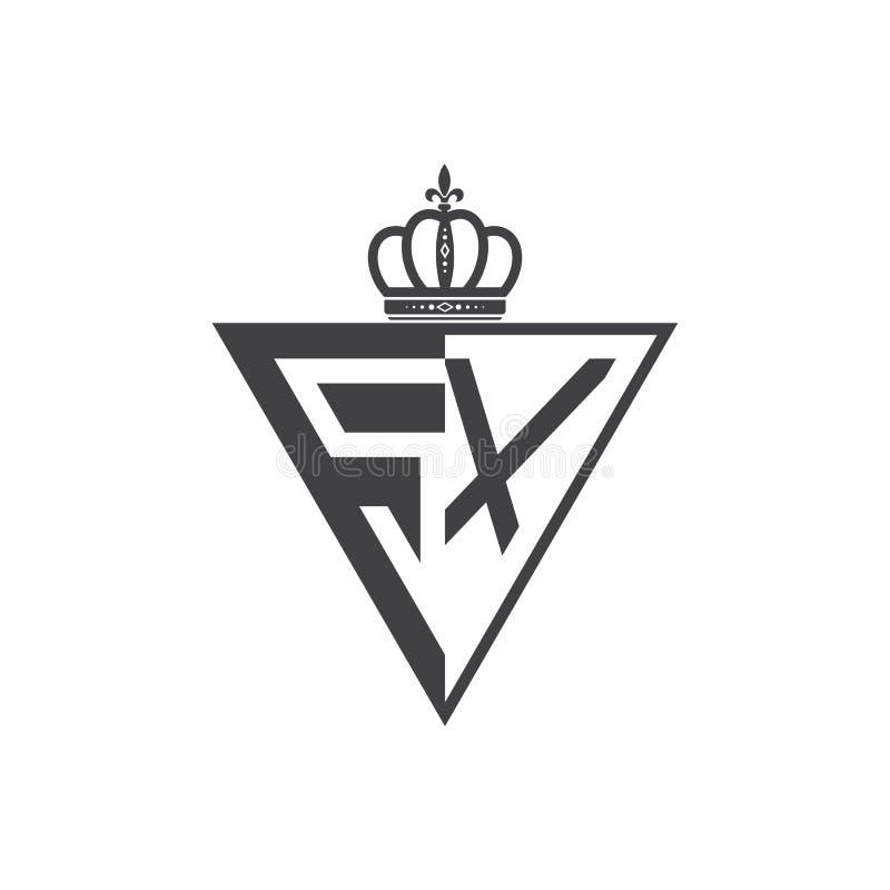 Ο αρχικός Μαύρος τριγώνων λογότυπων δύο γραμμάτων SX μισός διανυσματική απεικόνιση