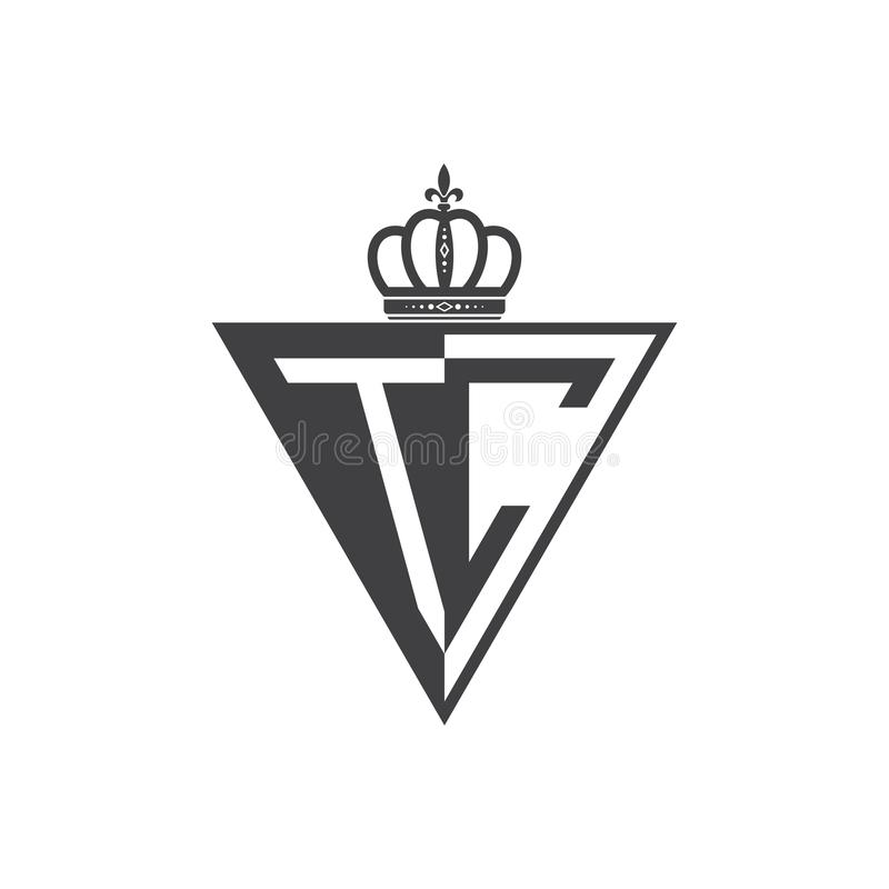 Ο αρχικός Μαύρος τριγώνων λογότυπων δύο γραμμάτων TC μισός απεικόνιση αποθεμάτων