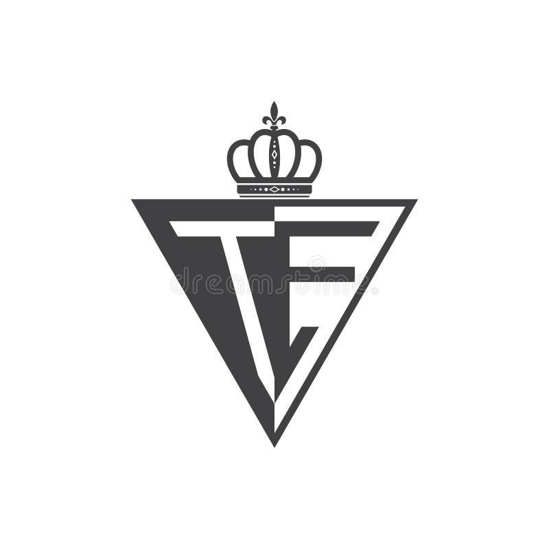 Ο αρχικός Μαύρος τριγώνων λογότυπων δύο γραμμάτων TE μισός απεικόνιση αποθεμάτων