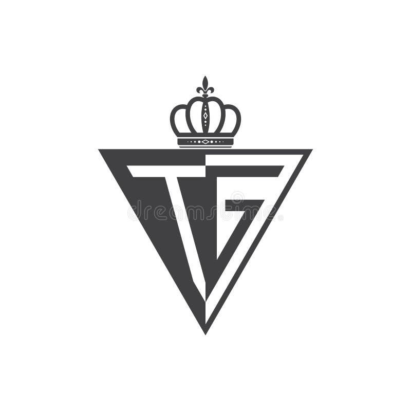 Ο αρχικός Μαύρος τριγώνων λογότυπων δύο γραμμάτων TG μισός απεικόνιση αποθεμάτων