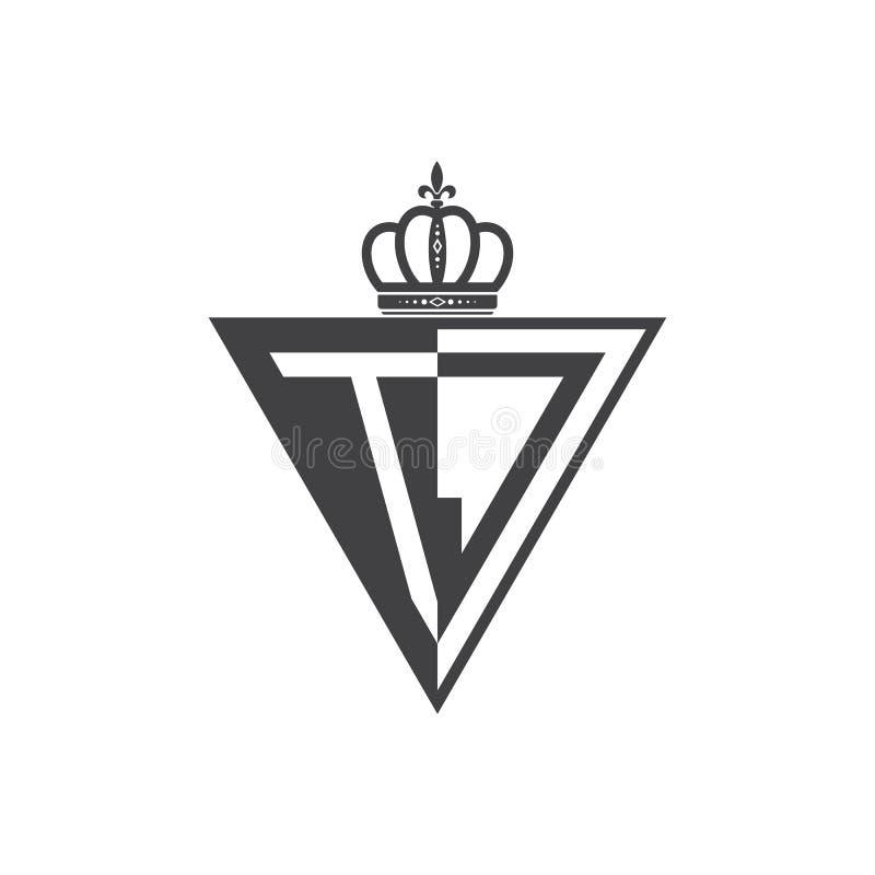 Ο αρχικός Μαύρος τριγώνων λογότυπων δύο γραμμάτων TJ μισός απεικόνιση αποθεμάτων