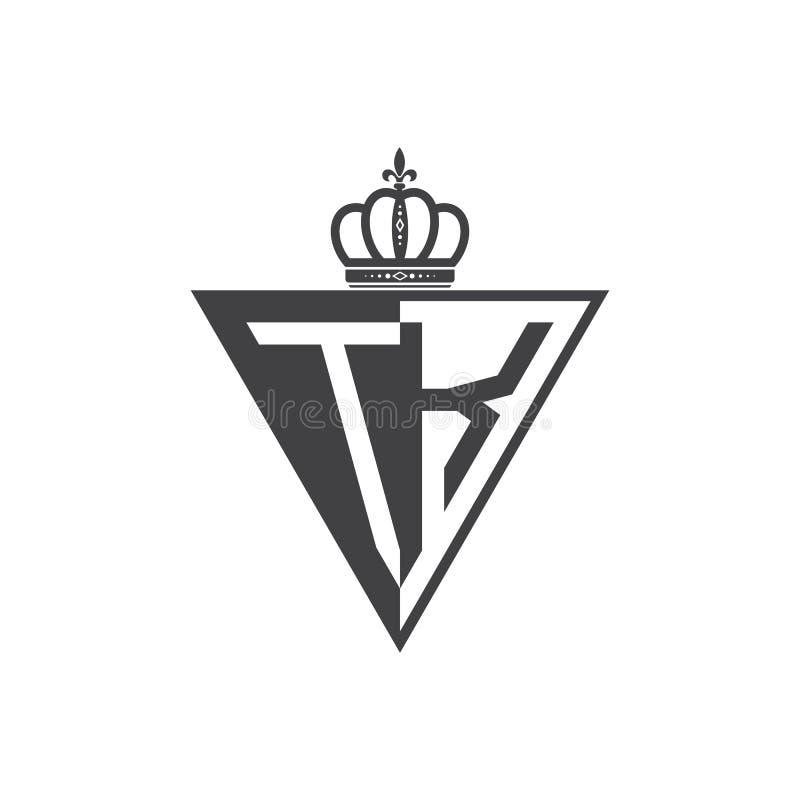 Ο αρχικός Μαύρος τριγώνων λογότυπων δύο γραμμάτων TK μισός διανυσματική απεικόνιση