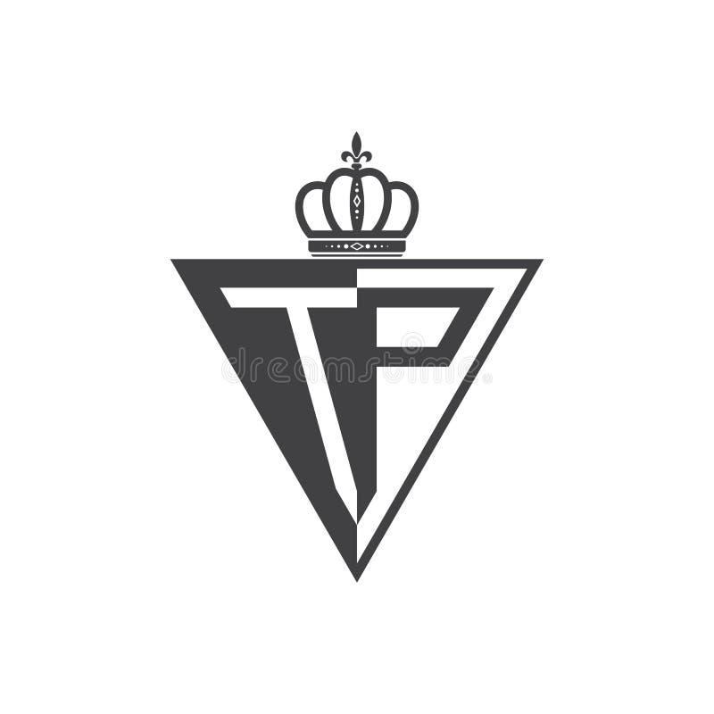 Ο αρχικός Μαύρος τριγώνων λογότυπων δύο γραμμάτων TP μισός απεικόνιση αποθεμάτων