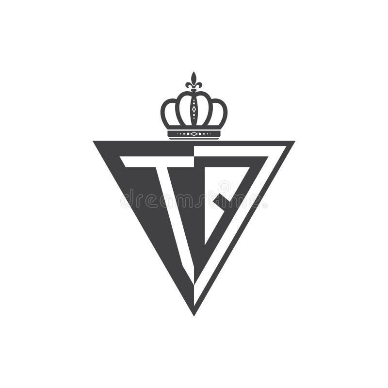 Ο αρχικός Μαύρος τριγώνων λογότυπων δύο γραμμάτων TQ μισός απεικόνιση αποθεμάτων