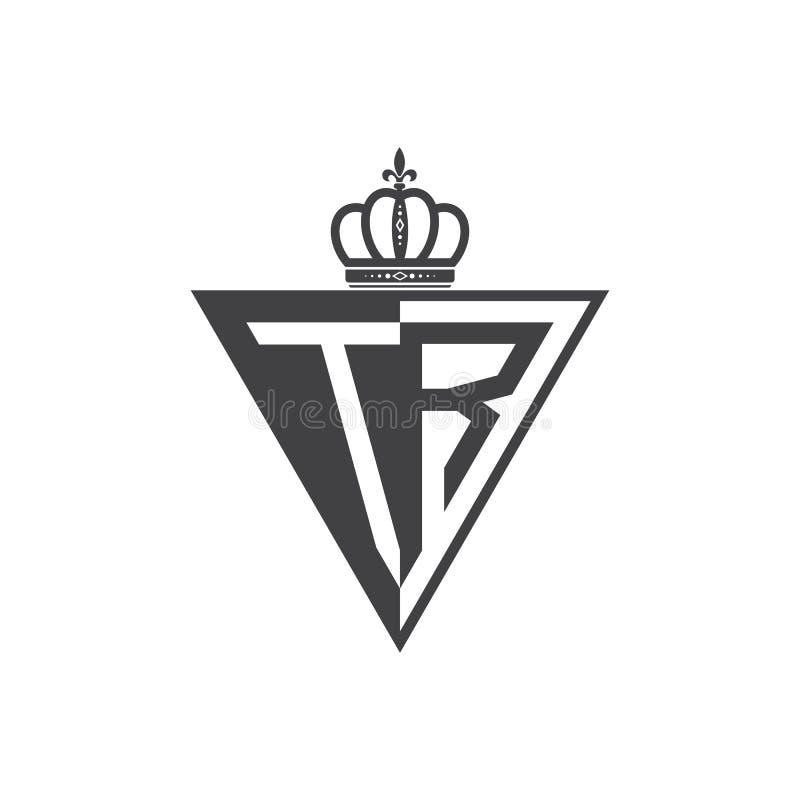 Ο αρχικός Μαύρος τριγώνων λογότυπων δύο γραμμάτων TR μισός διανυσματική απεικόνιση