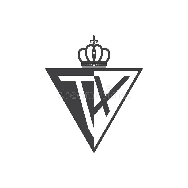 Ο αρχικός Μαύρος τριγώνων λογότυπων δύο γραμμάτων TX μισός διανυσματική απεικόνιση