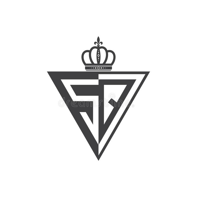 Ο αρχικός Μαύρος τριγώνων λογότυπων δύο επιστολών ΤΕΤΡΑΓΩΝΟΣ μισός ελεύθερη απεικόνιση δικαιώματος